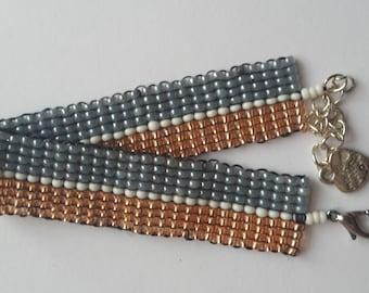 Orange, grey and white bracelet