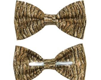 Tree Bark Look Clip on Bow Tie - Choose From Men / 2T 3T / 12-18 Months / Toddler Sizes - Wear To Weddings / Formal Events / Prom / Easter