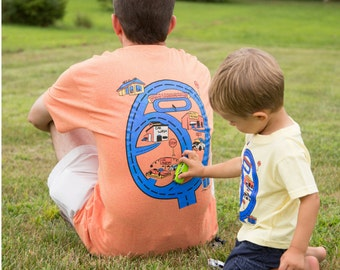 Race Track Play Mat Shirt Kids Matching Father Son T-shirt Christmas for Dad and Boys