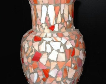 ON SALE Stained Glass Mosaic Vase Hand Crafted Pink and Coral @LootByLouise