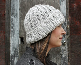 Fold Over Hand Knit Hat . Made in Canada . Warm Unisex Winter Hat  {  Grey White Mix  }