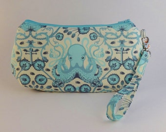 Octopus Wristlet - Tula Pink Handbag - Iphone Case - Phone Holder - Toiletry Bag