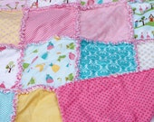 "35x42"" Hard to Find Fabric Happy Ever After 100% Cotton Rag Quilt in Pink Yellow and Blue with Flannel Batting Ready to Ship"