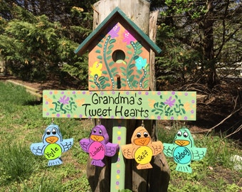 Personalized Grandmother birdhouse garden stake