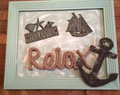 Seaside Metal welcome sign on Upcycled Frame
