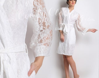 """Fabric Code: """"LACEY"""", Bridal Robe white super soft fabric, Kimono crossover, wedding photo prop, bridal shower, bride, getting ready robes,"""