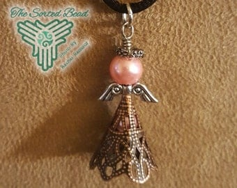 Angel Pendant - Silver, Brass and Pink Pearl Free Domestic Shipping