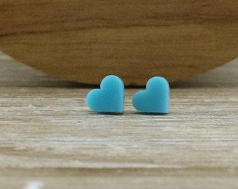 Aqua Acrylic Hearts Stud Earrings - Lasercut Earrings - Laser Cut Earrings - Quirky Earrings - Gift For Her