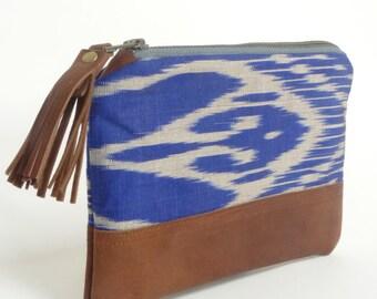 leather purse // boho clutch purse // ikat leather purse // blue coin purse