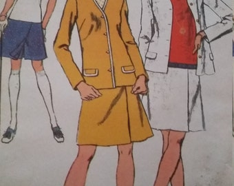 UNCUT and FF Pattern Pieces Vintage Simplicity 9932 Size 18 Mini-Pantdress and Unlined Cardigan