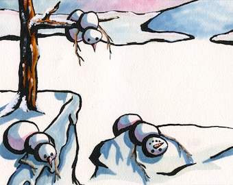 The Persistance of Snowmen - Watercolor & Ink
