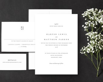 Minimalist Wedding Invitations SAMPLE, Affordable Wedding Invitations, Luxe 100% Cotton paper
