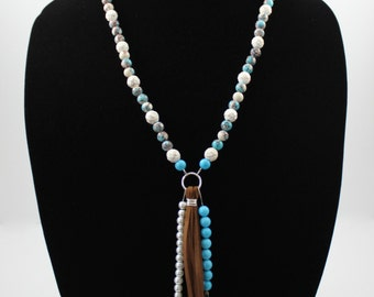 Turquoise and Wood Necklace with Brown Leather Tassel, Shark Tooth and Feather Charms