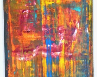 Yellow, Blue and Red Abstract, Untitled Original Acrylic Painting