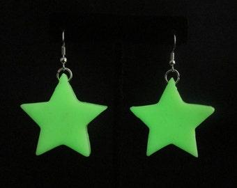 """Glow-in-the-Dark Star Earrings, 1.5"""" Stars"""
