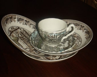 1982's Myott Royal Mail Staffordshire Ware Vintage Cup & Saucer  3-pc round vegetable bowl