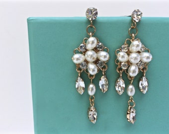 Vintage Style Chandelier Earrings With Crystals And Pearls, Statement Earrings, Bridal Earrings, Gold Or Silver