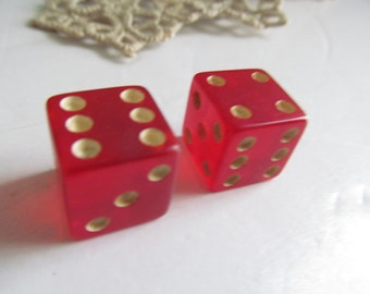 Rolling the Dice Vintage Dice Game Pieces Vintage Game Pieces Red Dice Red Lucite Dice Pr of Dice