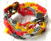 Colorful beaded bracelet, freeform jewelry, boho bracelet, bohemian jewelry, peyote bracelet, free form cuff, beadwoven bracelet, beadwork