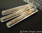 Gift for wife gold fill and Sterling Silver bar silver and rose gold necklace personalized mother necklace for mom custom name