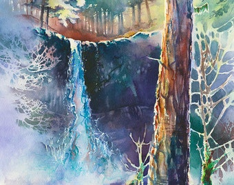 Silver Falls - Watercolor Painting Print by Michael David Sorensen. Oregon Waterfall. Purple. Green. Negative Painting. Trees. Northwest
