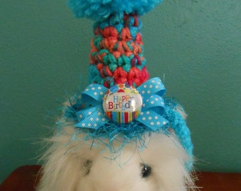 Crocheted Cat Birthday Hats, Birthday Party Hat for Cats and XS Dogs