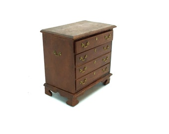 Dollhouse, Miniature, Chippendale Chest of Drawers, Childs Dresser, Silver Chest, Colonial, Victorian, c1970's