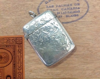 Antique sterling silver match safe British vesta case collectible tobacciana smoking accessory Victorian Edwardian steampunk jewelry pendant