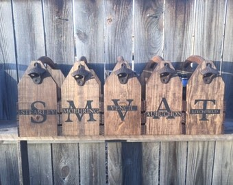 5 Personalized groomsmen wedding gift Rustic 6-pack beer bottle carrier 12 oz longnecks wood six pack homebrew tote new birthday fathers day