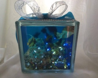 Seascape Decorated Glass Block  Sealife, Mermaid at play with Decorated Lights