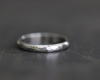 Women's, Wedding Band, Stacking Ring, Hammered, Faceted, Half Round, Skinny, Dainty, Layering, Rustic, Minimalist, by Mossy Creek