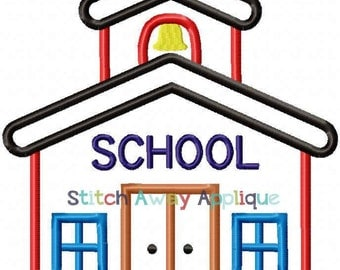 SAMPLE SALE:  Back to School School House Appliqued Shirt - Embroidered, Personalized, Monogram, School House, Back to School, Girls or Boys