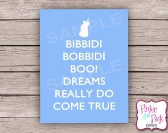 INSTANT Download Cinderella Digital File Bibbidi Bobbidi Fairy Godmother Sign