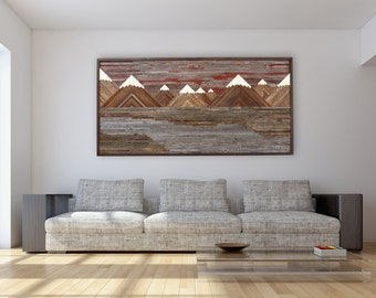 Wood wall art of a Fiery Sunset Mountain landscape, Different Sizes Available, reclaimed wood art, rustic wall art, Large wall art.