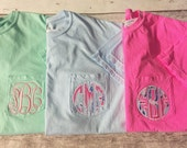 Monogrammed Comfort Colors Pocket T Short Sleeve or Longsleeve