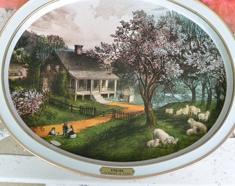 Vintage  Currier & Ives Spring Tray - Oval, Lambs, Blossoms - Rarely Used - 1960's - Beautiful!