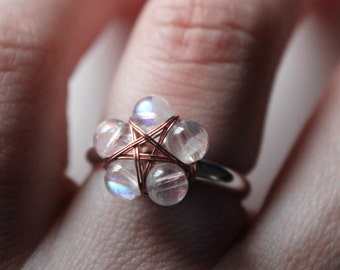 moonstone ring silver Star ring Pentagram ring rainbow moonstone ring moon stone rings wiccan jewelry witchy ring pagan jewelry pagan ring