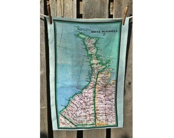 Bruce Peninsula map tea towel - FREE SHIPPING