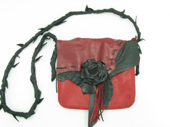 Red & Black Leather Rose Hip Bag