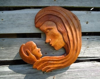 Mother and Child - Cherry wood sculpture - Nursery art - Mary and child - Wood sculpture - Madonna religious art - Figure art - Wood carving