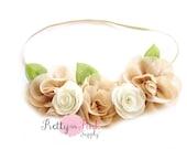 DIY Tan Baby Flower Crown Headband Kit #229- Baby Headband, Baby Shower, Shabby Flowers - Headband Kit- Girls Flower Crown