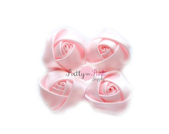 "Baby Pink Satin Rolled Rosettes Lot of 4...Satin Rolled Rosettes...Mini Rolled Rosettes...1.5"" Rosettes"