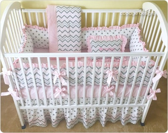 Pink and Gray Chevron CRIB BEDDING Set - Baby Girl Crib Bedding - Bumper Pad, Crib Skirt, Baby Blanket & Optional Personalized Accent Pillow