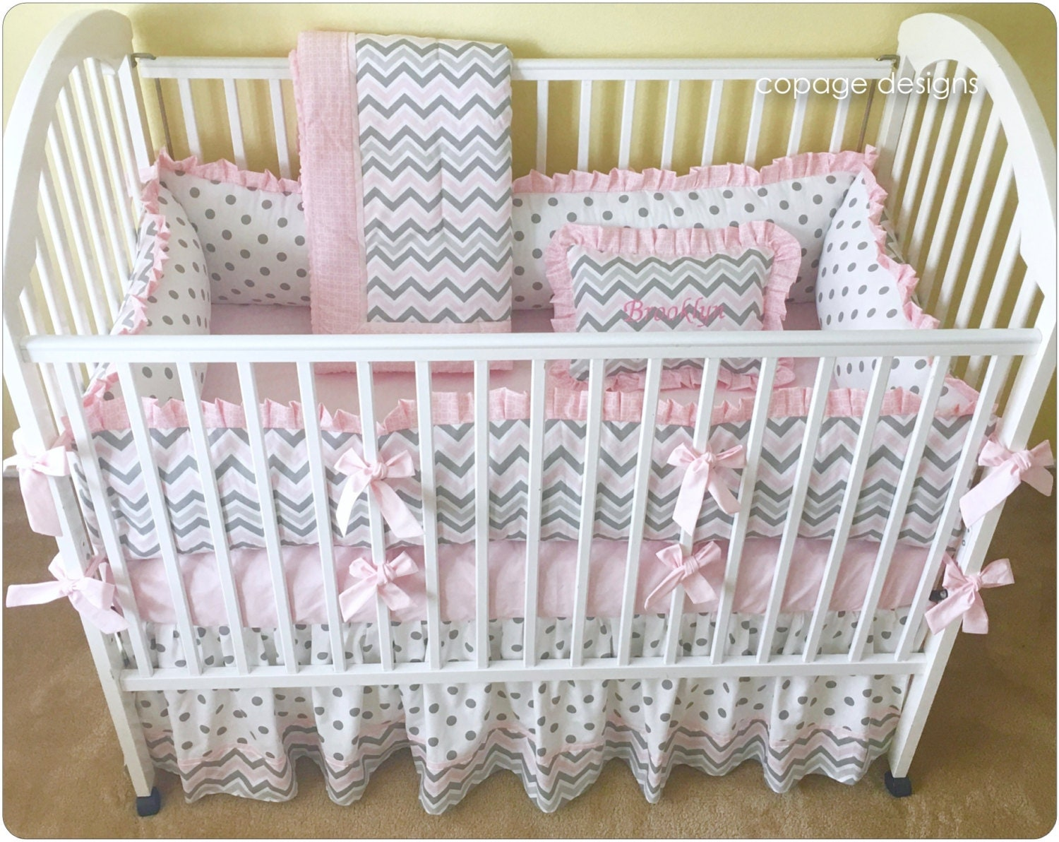 pink and gray chevron crib bedding set baby girl crib. Black Bedroom Furniture Sets. Home Design Ideas