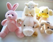 5 Vintage stuffed toys - vintage baby animal toys - stuffed toy bunny/lamb/pigs/duck - vintage plush toys - vintage stuffed animals