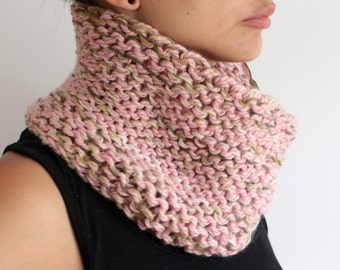 Hand knit Pink Knit Chunky Cowl Neckwarmer Unisex Men Women Wool Collar Winter Fashion gift for her