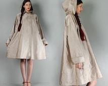 vintage Hoodie Cape Coat 1 size Minimalist trench coat Draped Hooded Cape Coat Parka Anorak tend dress Jacket Fall 1sz