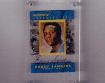 Barry Sanders Laserview Autograph  Detroit Lions