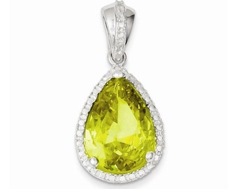 Sterling Silver Pear Shape Yellowish Green CZ Pendant