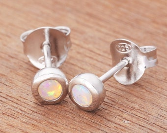 0.13ct Solid White Opal Earrings in Sterling Silver, Unique Natural Australian Opal Jewelry SKU: 1939A083